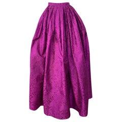 1980s Oscar de la Renta Fuchsia Silk Brocade Unworn Full Ball Gown Skirt
