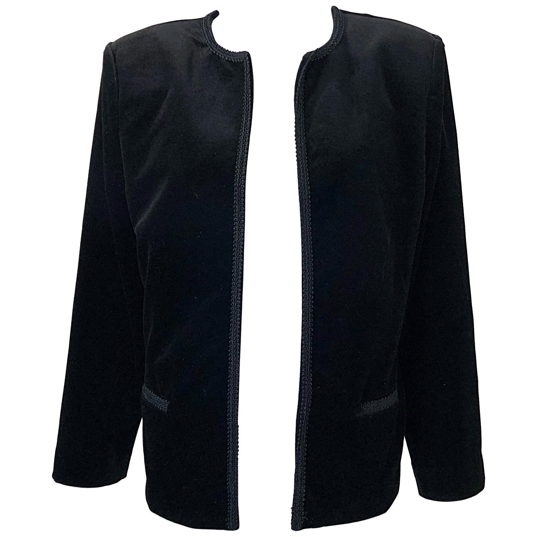 1980s Oscar de la Renta Size 16 Black Velvet Embroidered Vintage 80s Jacket