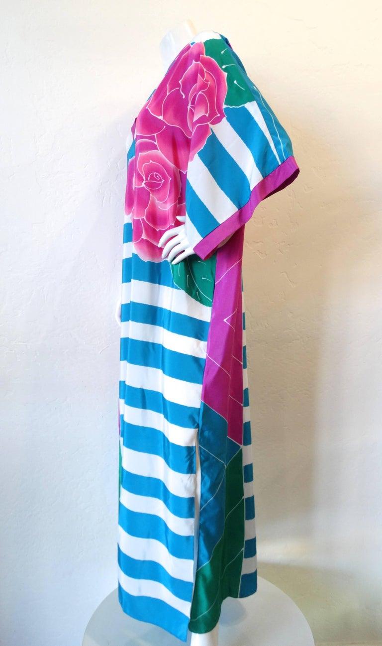 1980s Oscar De La Renta Striped Floral Kimono Gown at 1stdibs