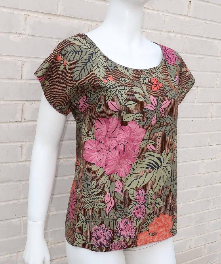 Brown 1980's Oscar de la Renta Tropical Floral Cotton Top For Sale