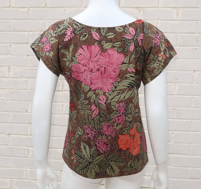 1980's Oscar de la Renta Tropical Floral Cotton Top For Sale 1