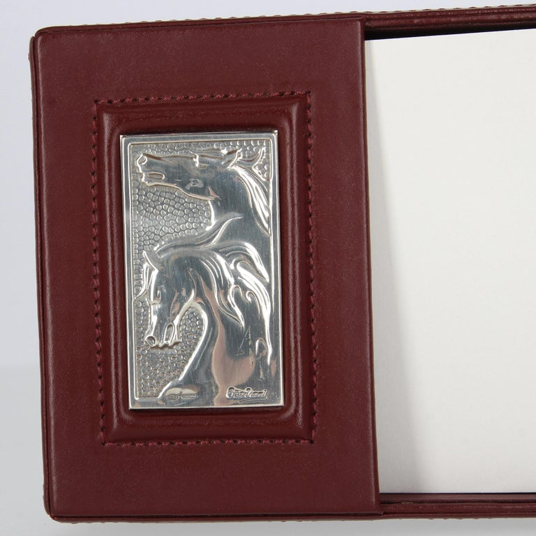1980s Ottaviani Silver And Leather Desk Accessories For Sale 2