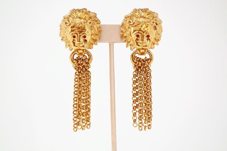Modern 1980s Oversized Italian Designer Lion Statement Earrings with Chain Tassels For Sale