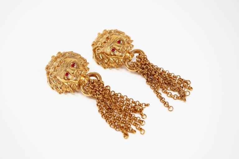 1980s Oversized Italian Designer Lion Statement Earrings with Chain Tassels For Sale 1
