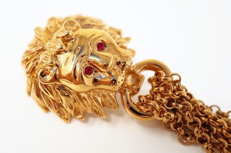 1980s Oversized Italian Designer Lion Statement Earrings with Chain Tassels For Sale 2