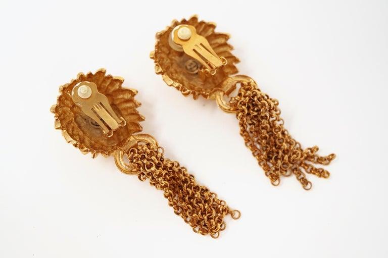 1980s Oversized Italian Designer Lion Statement Earrings with Chain Tassels For Sale 3