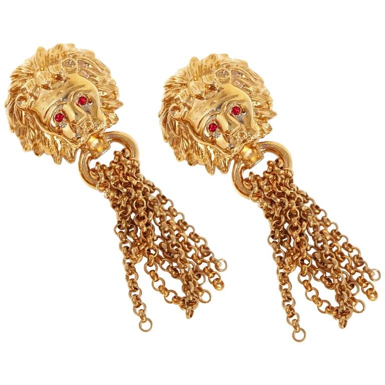 1980s Oversized Italian Designer Lion Statement Earrings with Chain Tassels For Sale