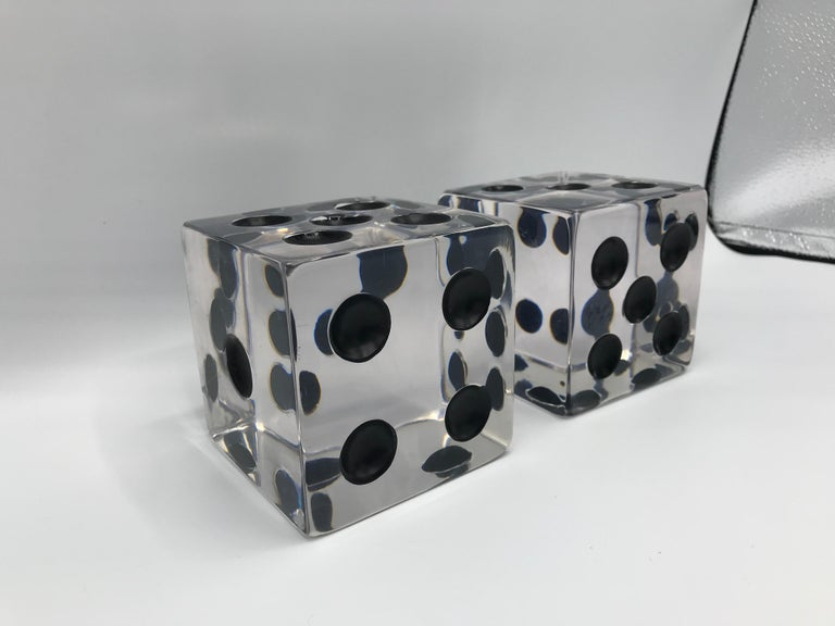 Modern 1980s Oversized Lucite Game Dice Sculptures, Pair For Sale