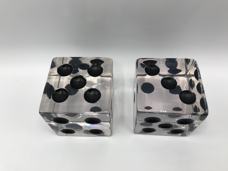 1980s Oversized Lucite Game Dice Sculptures, Pair In Good Condition For Sale In Richmond, VA