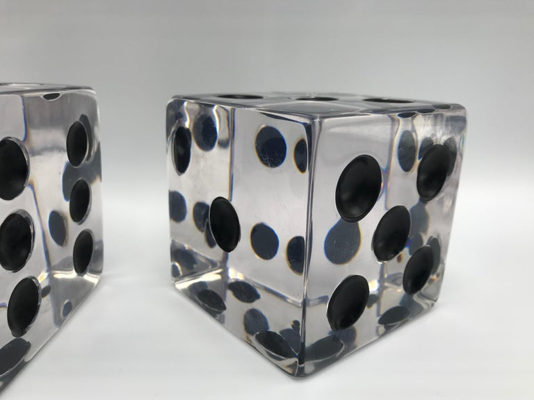 20th Century 1980s Oversized Lucite Game Dice Sculptures, Pair For Sale