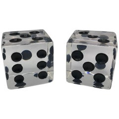 1980s Oversized Lucite Game Dice Sculptures, Pair