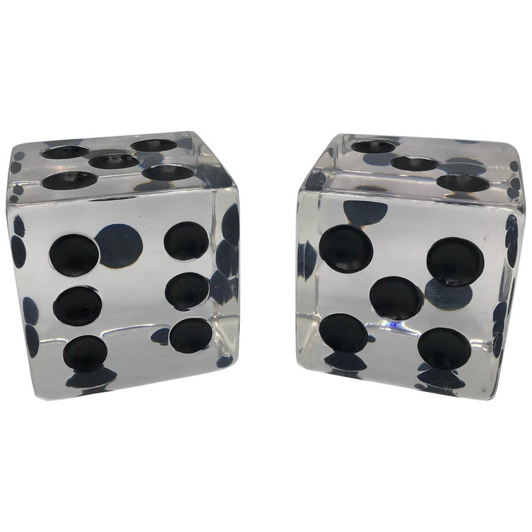 1980s Oversized Lucite Game Dice Sculptures, Pair For Sale