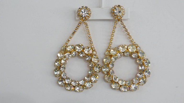 1980s Oversized Rhinestone Hoop Drop Earrings  In Excellent Condition For Sale In Scottsdale, AZ