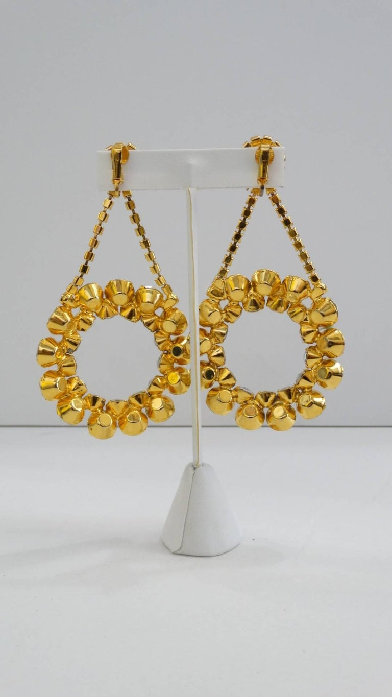 1980s Oversized Rhinestone Hoop Drop Earrings  For Sale 1