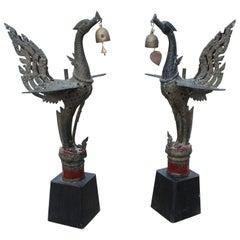 1980s Pair of Asian Bronze Garuda Mythical Hindu Birds on Wooden Bases