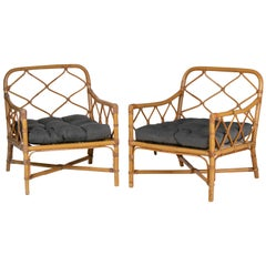 1980s Pair of Bamboo and Canework Armchairs