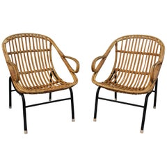 1980s Pair of Bamboo and Canework Armchairs with Iron Legs