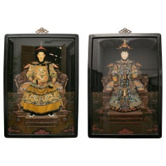 1980s Pair of Chinese Paintings on Glass of Emperor and Empress