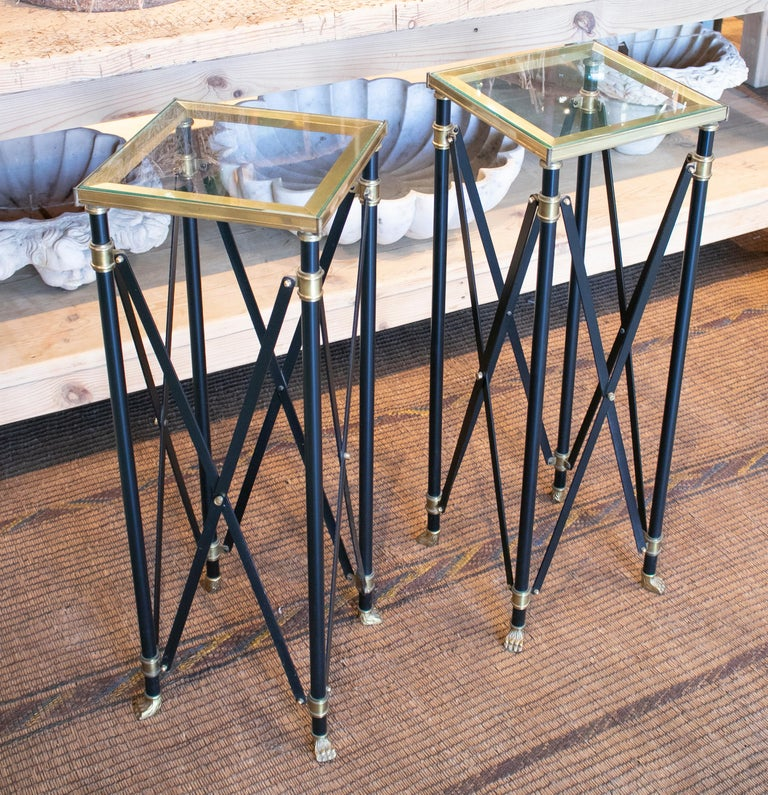 20th Century 1980s Pair of French Designed Bronze Auxiliary Tall Tables with Lion Claw Feet For Sale