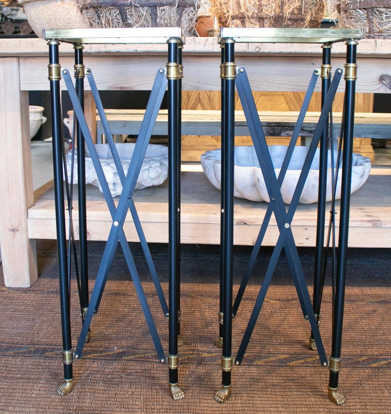 1980s Pair of French Designed Bronze Auxiliary Tall Tables with Lion Claw Feet For Sale 2