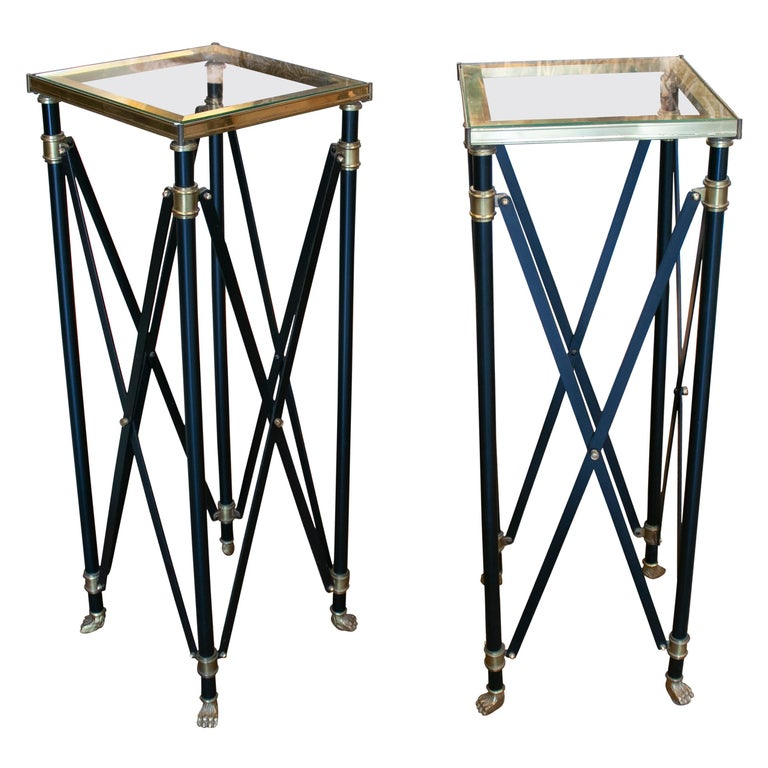 1980s Pair of French Designed Bronze Auxiliary Tall Tables with Lion Claw Feet For Sale