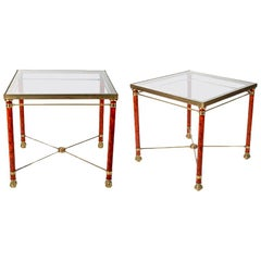 1980s Pair of French Gilt Bronze and Crystal Side Tables with Lion Claw Feet