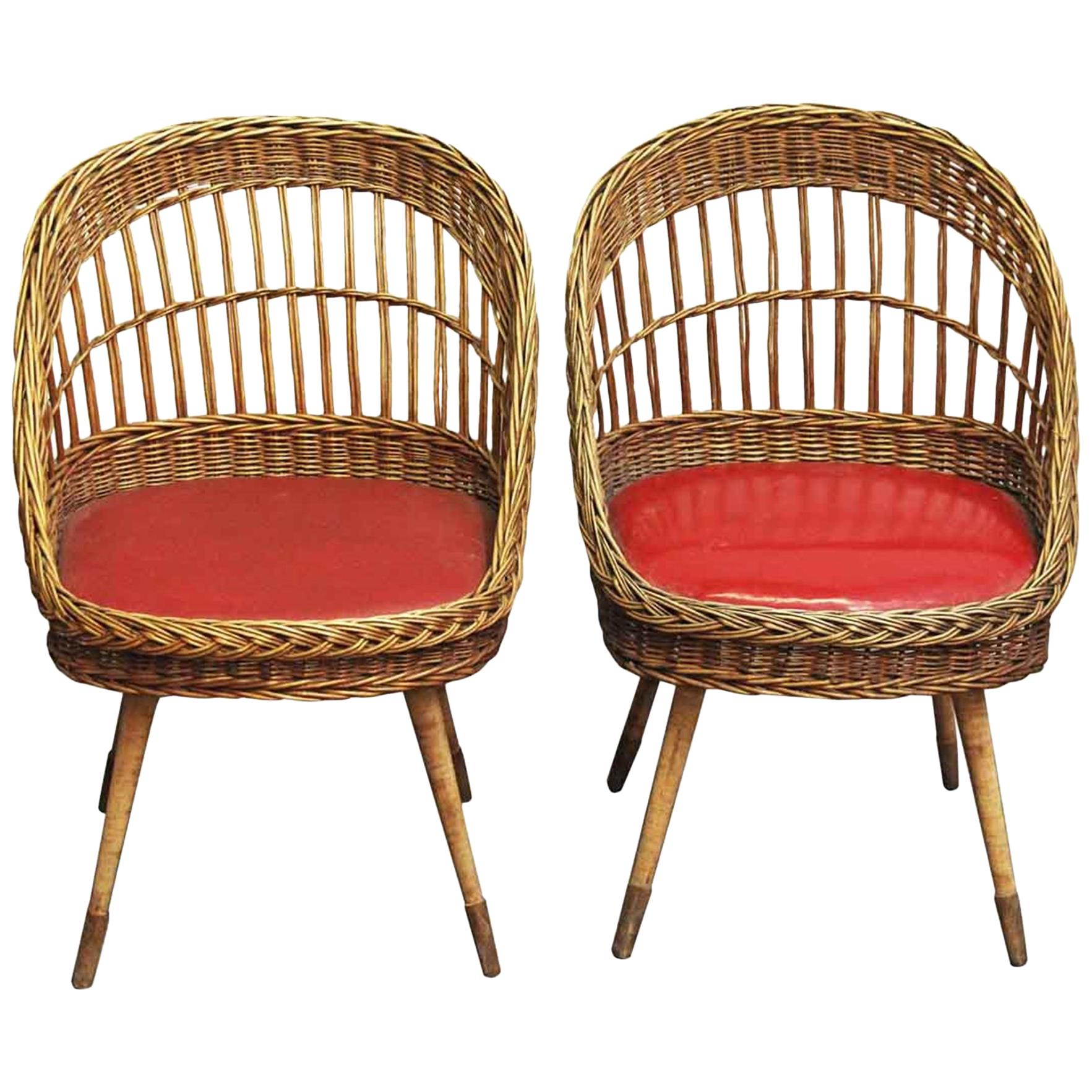 1980s Pair of French Red Rattan Chairs