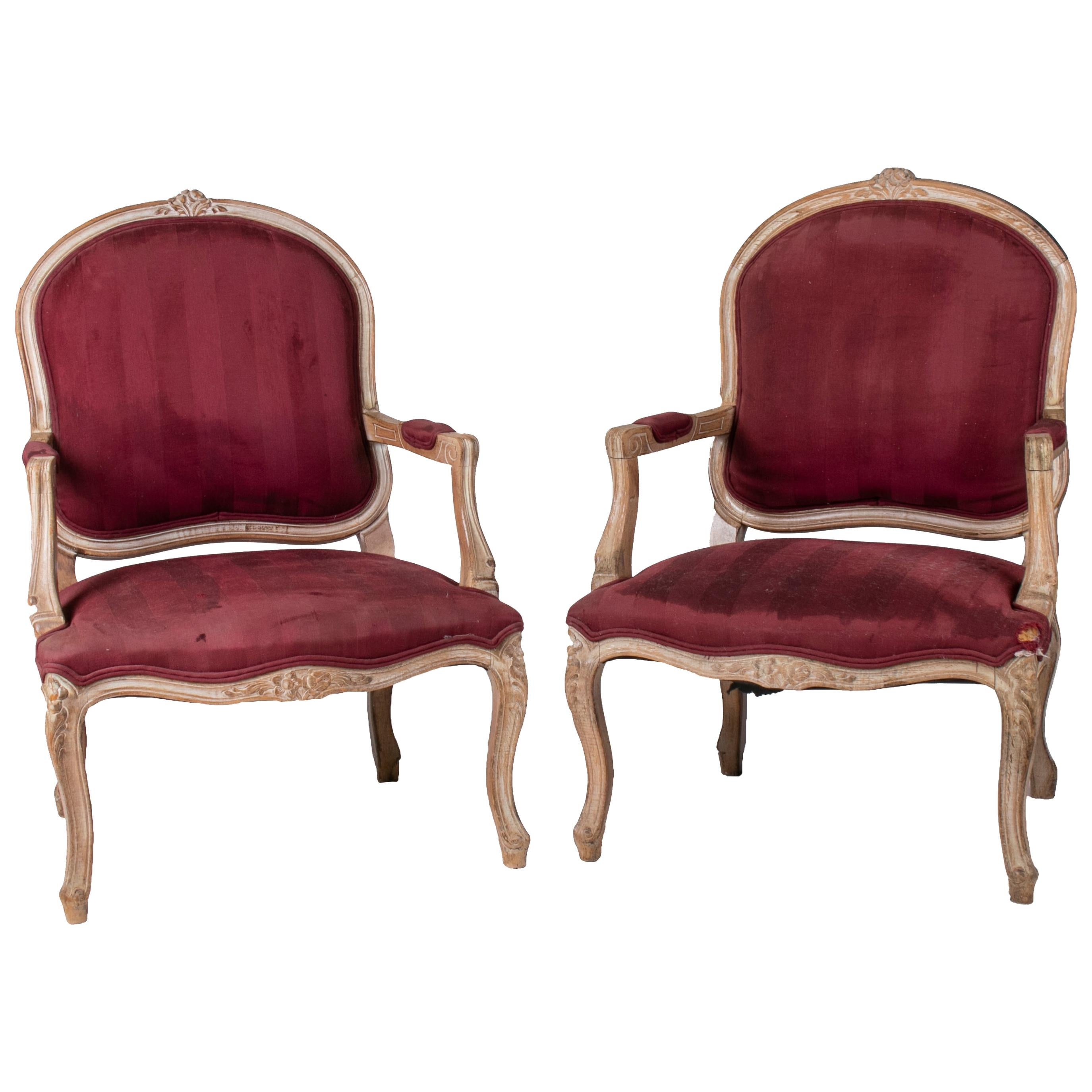 1980s Pair of French Red Upholstered Armchairs