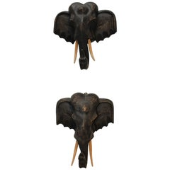 1980s Pair of Hand Carved Wooden Elephant Heads
