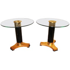 1980s Pair of Italian Round Glass Top Tables