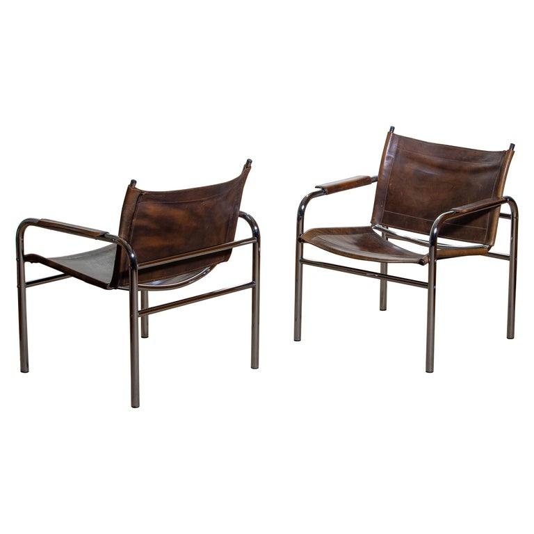 1980s, Pair of Leather and Tubular Steel Armchairs by Tord Bjorklund, Sweden For Sale 6