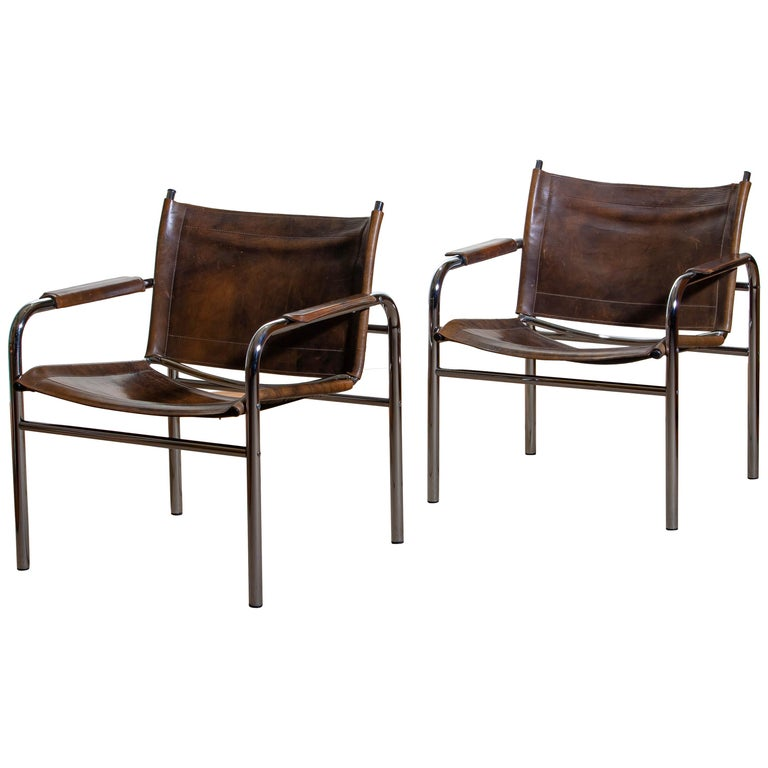 1980s, Pair of Leather and Tubular Steel Armchairs by Tord Bjorklund, Sweden For Sale 7