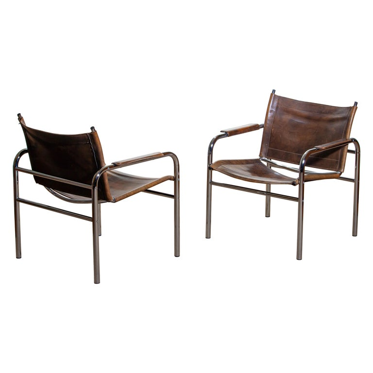 1980s, Pair of Leather and Tubular Steel Armchairs by Tord Bjorklund, Sweden For Sale 8