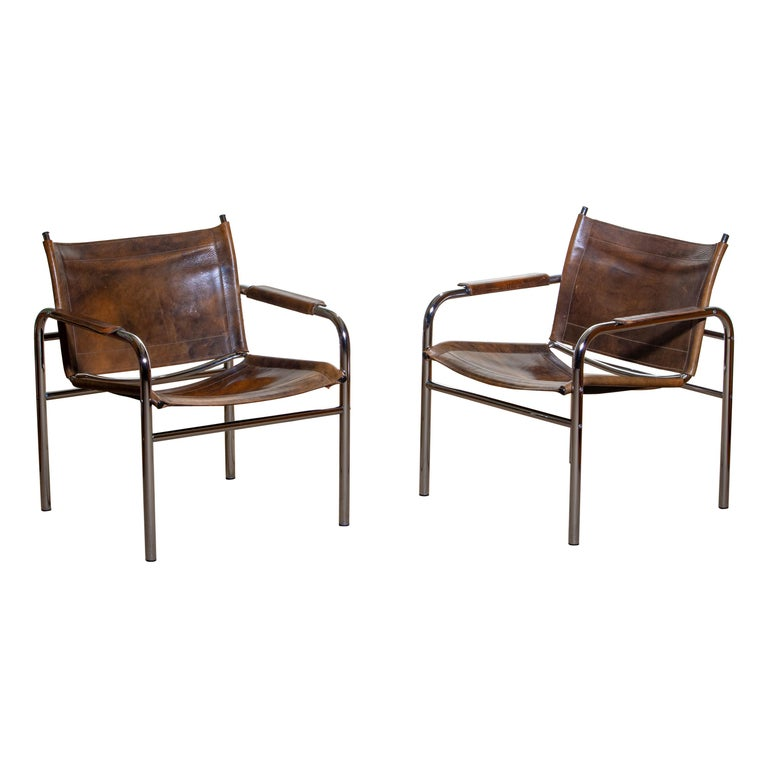 1980s, Pair of Leather and Tubular Steel Armchairs by Tord Bjorklund, Sweden For Sale 9