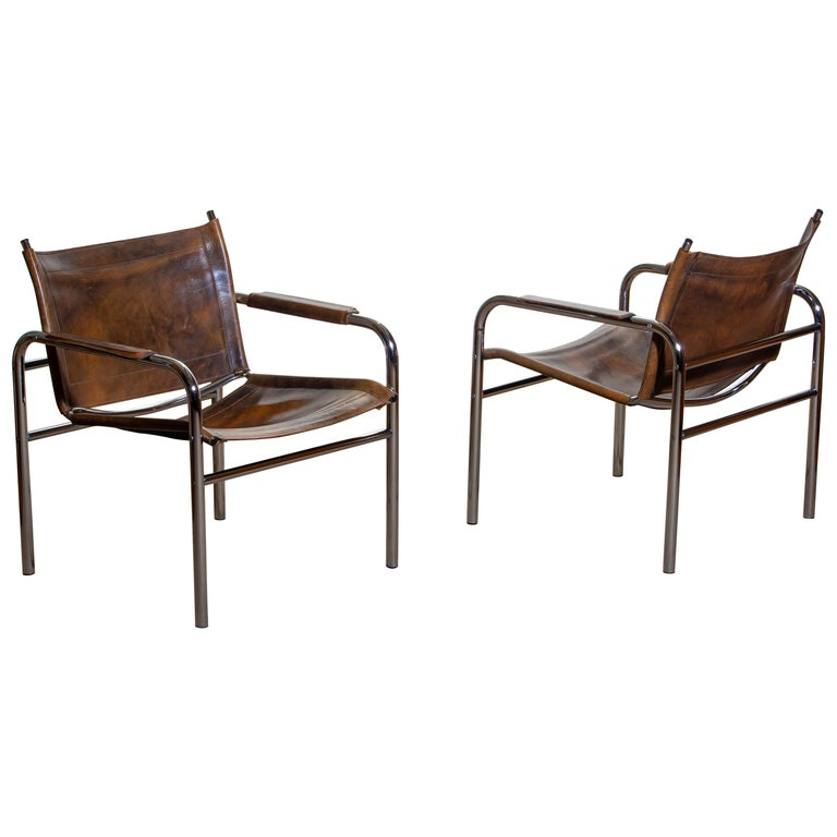 1980s, Pair of Leather and Tubular Steel Armchairs by Tord Bjorklund, Sweden For Sale 11