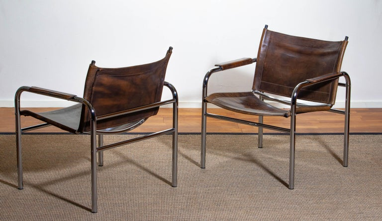 1980s, Pair Of Leather And Tubular Steel Armchairs By Tord