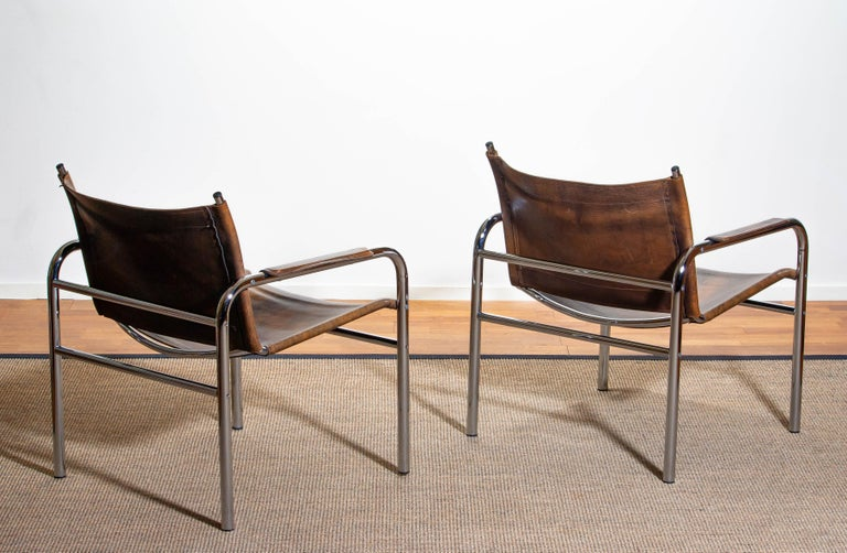 Late 20th Century 1980s, Pair of Leather and Tubular Steel Armchairs by Tord Bjorklund, Sweden For Sale