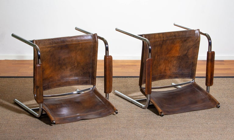 1980s, Pair of Leather and Tubular Steel Armchairs by Tord Bjorklund, Sweden For Sale 1