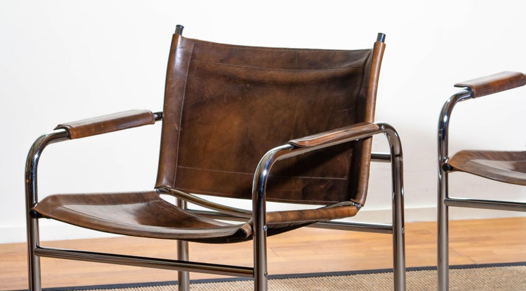 1980s, Pair of Leather and Tubular Steel Armchairs by Tord Bjorklund, Sweden For Sale 2