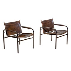 1980s, Pair of Leather and Tubular Steel Armchairs by Tord Björklund, Sweden