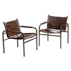 1980s, Pair of Leather and Tubular Steel Armchairs by Tord Bjorklund, Sweden