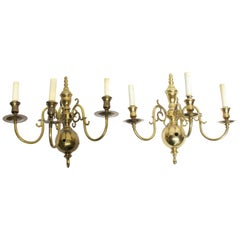 1980s Pair of NYC Waldorf Astoria Hotel Brass Colonial Style Three-Light Sconces