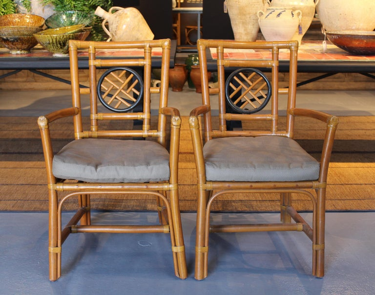 1980s pair of oriental style bamboo chairs.