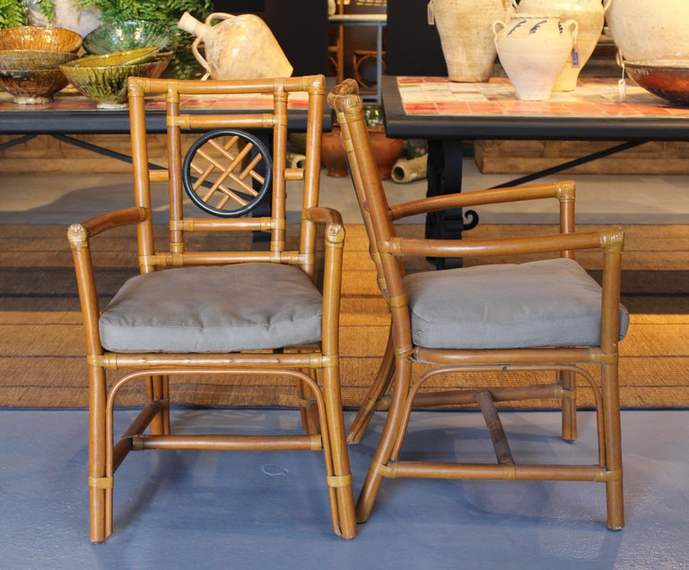 European 1980s Pair of Oriental Style Bamboo Chairs For Sale