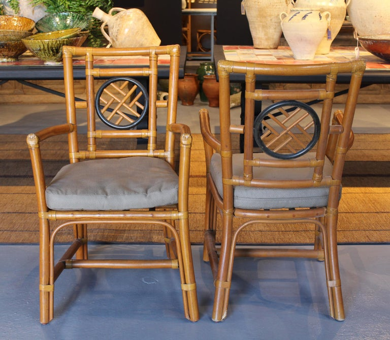 1980s Pair of Oriental Style Bamboo Chairs In Good Condition For Sale In Malaga, ES