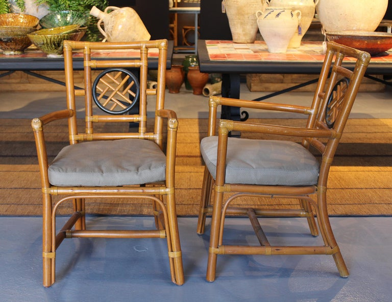 20th Century 1980s Pair of Oriental Style Bamboo Chairs For Sale