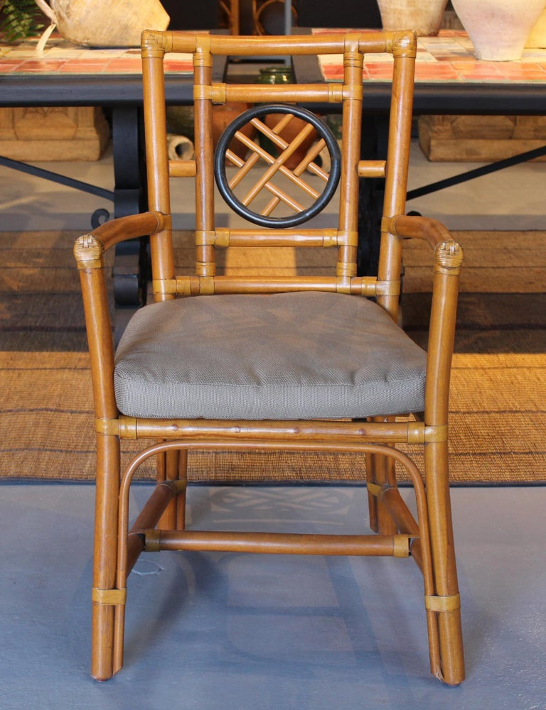 1980s Pair of Oriental Style Bamboo Chairs For Sale 1