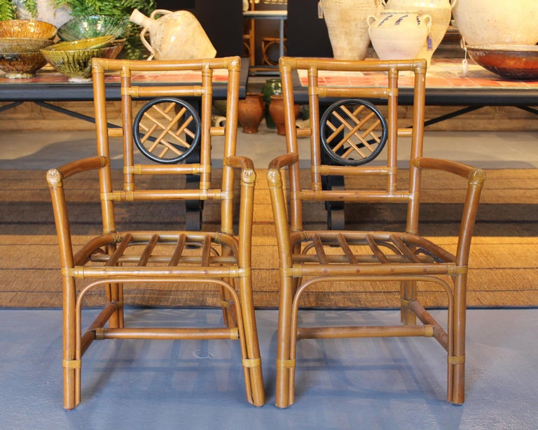 1980s Pair of Oriental Style Bamboo Chairs For Sale 2