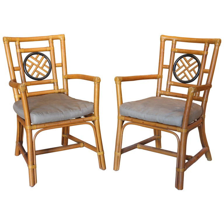 1980s Pair of Oriental Style Bamboo Chairs For Sale