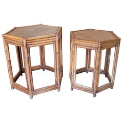 1980s Pair of Philippine Octagonal Bamboo and Rattan Small Tables